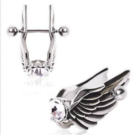 Surgical Steel Feathered Angel Wings with Gem Cartilage Earring