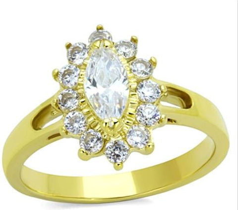 Ion Gold Plating Over Stainless Steel Marquise CZ Engagement Ring