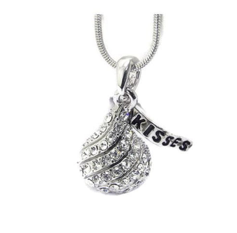 Crystal Stud Ice Chocolate Pendant Necklace 18""