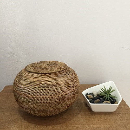 Handwoven Ata Reed Ball Container with Lid