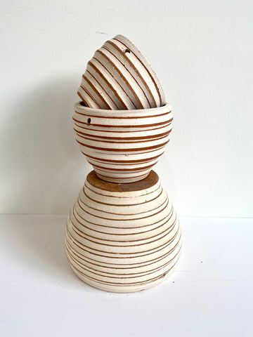 Terracotta 'White Stripes' Pot (3 Sizes)
