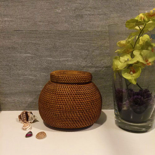 Handwoven Rattan Fisherman Container with Lid