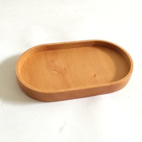 Red Wood Oval Coffee Snack Tray