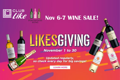 Pinewood Wine X Club Like Likesgiving wine promotion sale