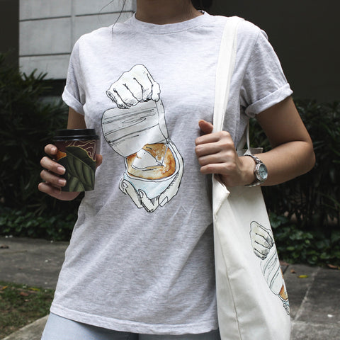 Great coffee in common t-shirt and tote bag set