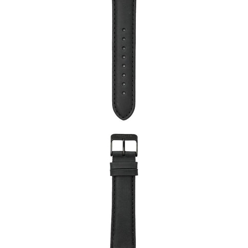 Black leather strap, 20 mm with Norlite logo on black clasp