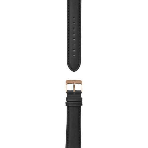 Black leather strap, 20 mm with Norlite logo on rose gold clasp