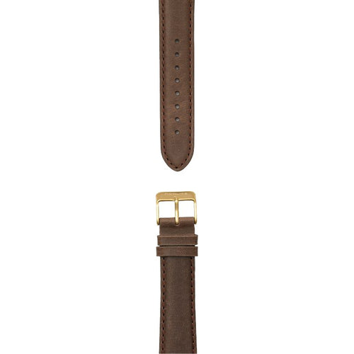 Dark brown leather strap, 20 mm with Norlite logo on gold clasp