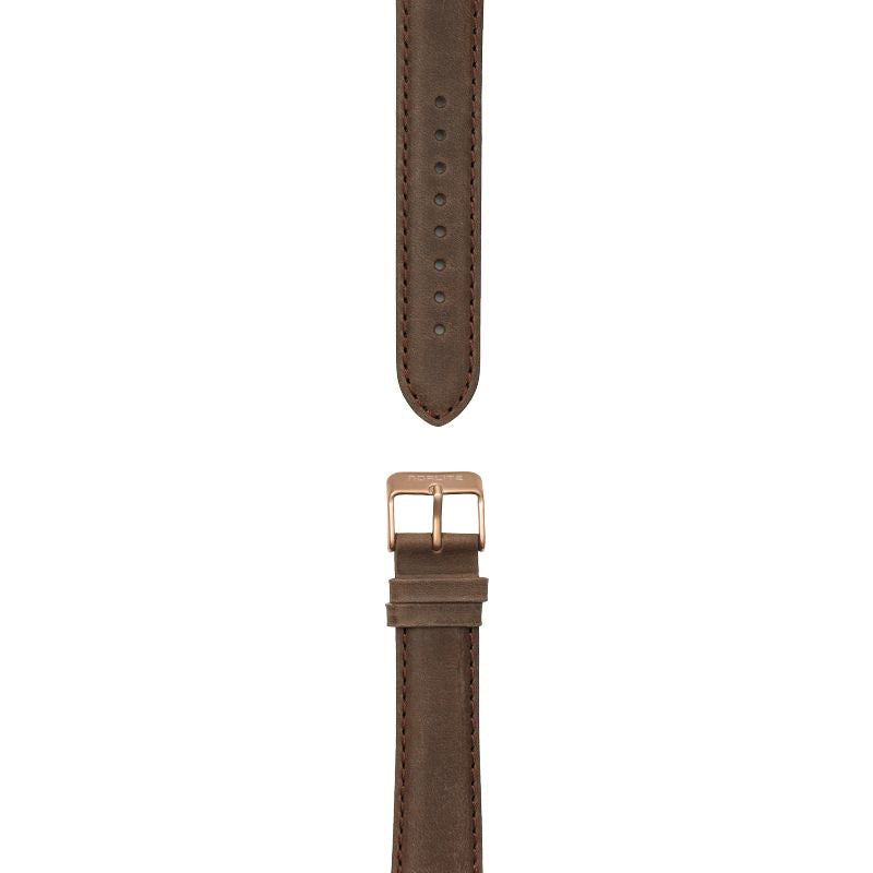 Dark brown leather strap, 20 mm with Norlite logo on rose gold clasp