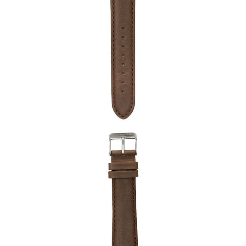 Dark brown leather strap, 20 mm with Norlite logo on steel clasp