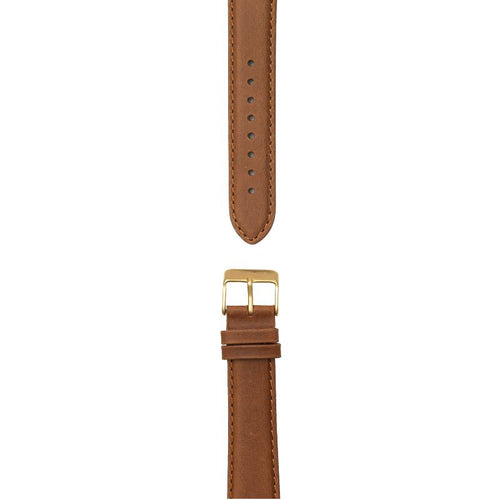 Cognac brown leather strap, 20 mm with Norlite logo on gold clasp