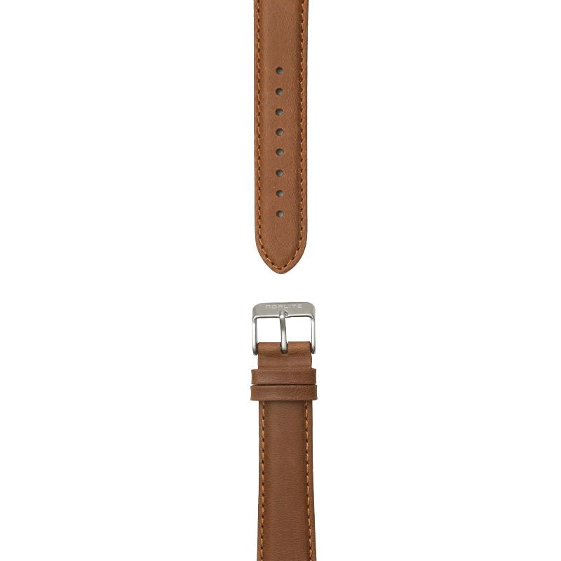 Cognac brown leather strap, 20 mm with Norlite logo on steel clasp