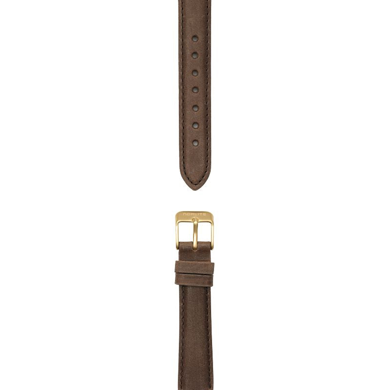 Dark brown leather strap, 16 mm with Norlite logo on gold clasp