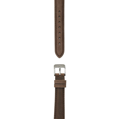 Dark brown leather strap, 16 mm with Norlite logo on steel clasp