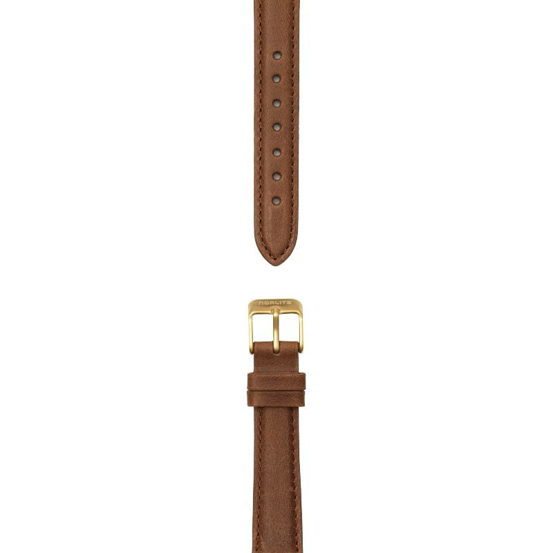 Cognac brown leather strap, 16 mm with Norlite logo on gold clasp