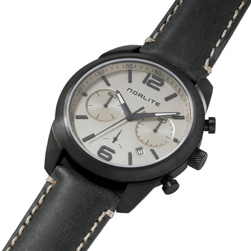 Black chronograph with distinct dial and strap