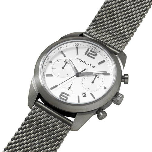 Gun grey men's chronograph with steel dial