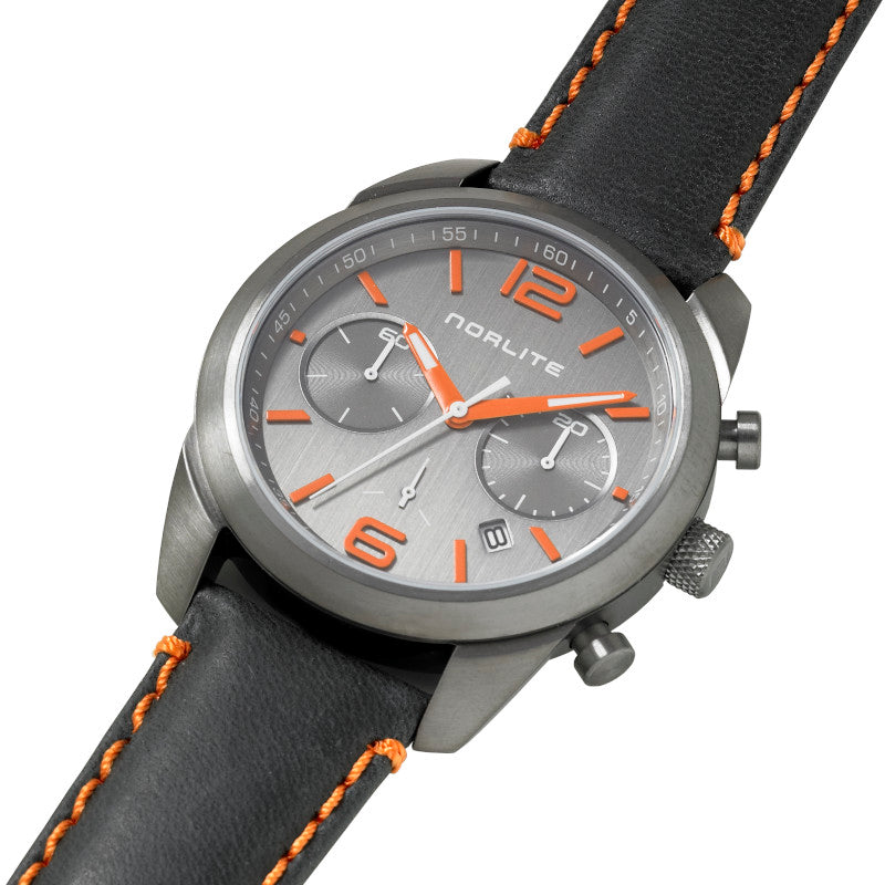 Norlite chronograph with orange colour details on dial and strap