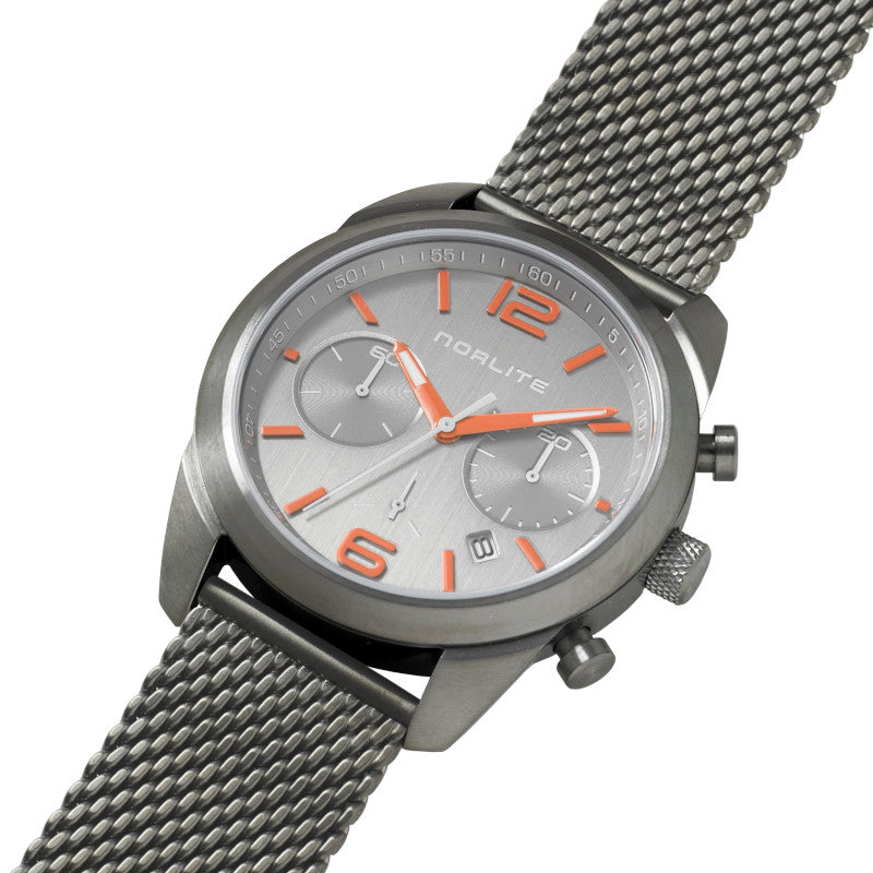 Norlite chronograph with orange colour details on dial