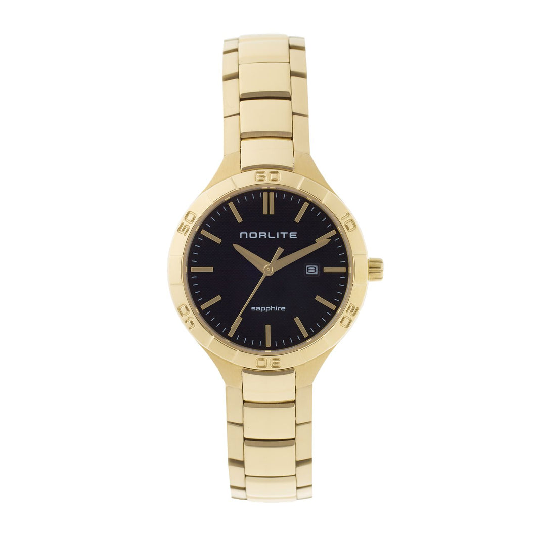 Beautiful combination of a black dial and a gold plated watch case