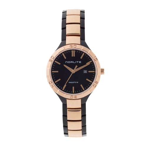 Two-tone black and rose gold time piece