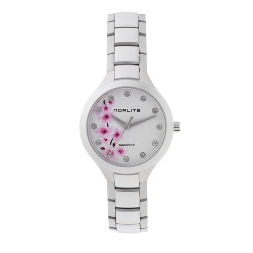 Time piece with Cherry Blossom imprint on white dial