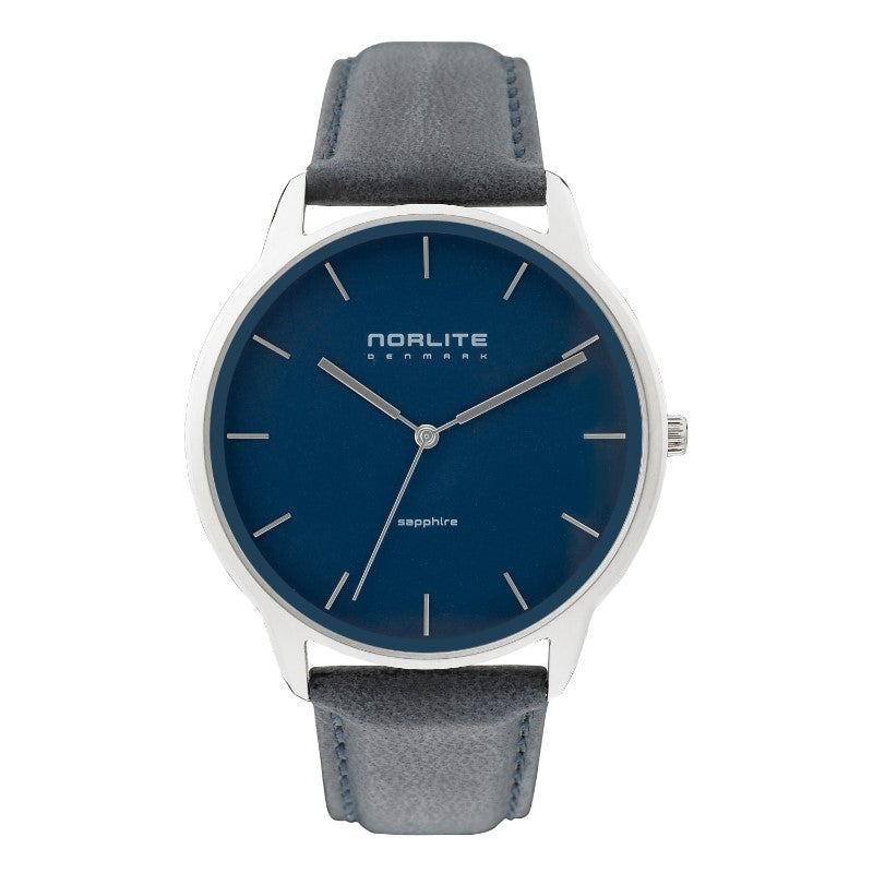 Men's watch with leather strap and sapphire crystal