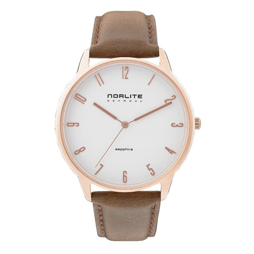 Rose gold men's watch with sapphire crystal