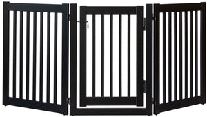 Amish Handcrafted 3 Panel Pet Gate w/Door Black