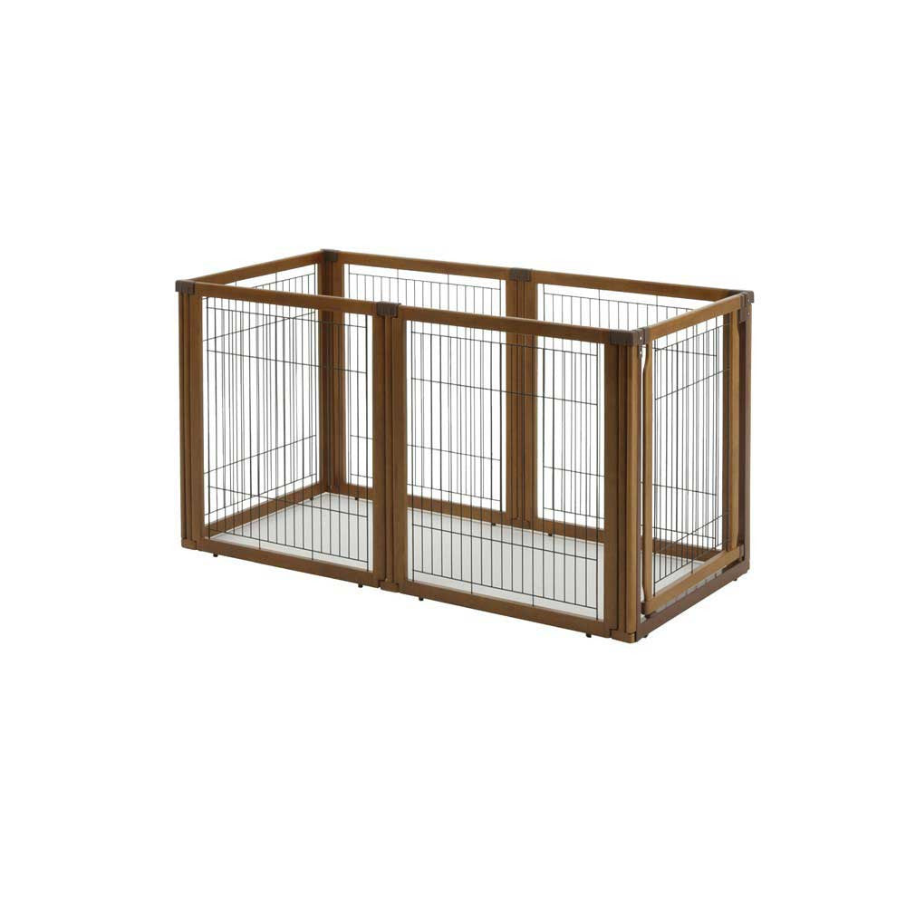 6 panel convertible pet playpen, hardwood