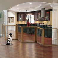 6 panel convertible pet gate, rubberwood
