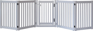 Amish Handcrafted 5 Panel Accordion Pet Gate w/Door Pumice Grey