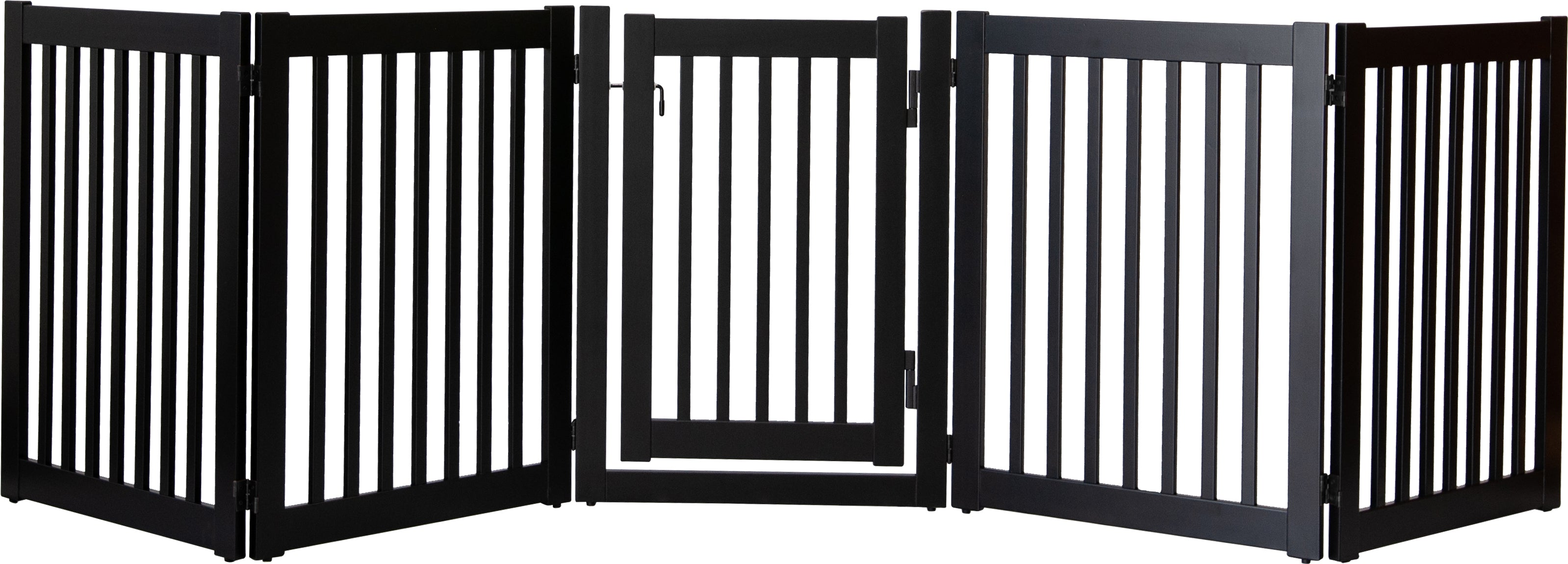 Amish Handcrafted 5 Panel Accordion Pet Gate w/Door Black