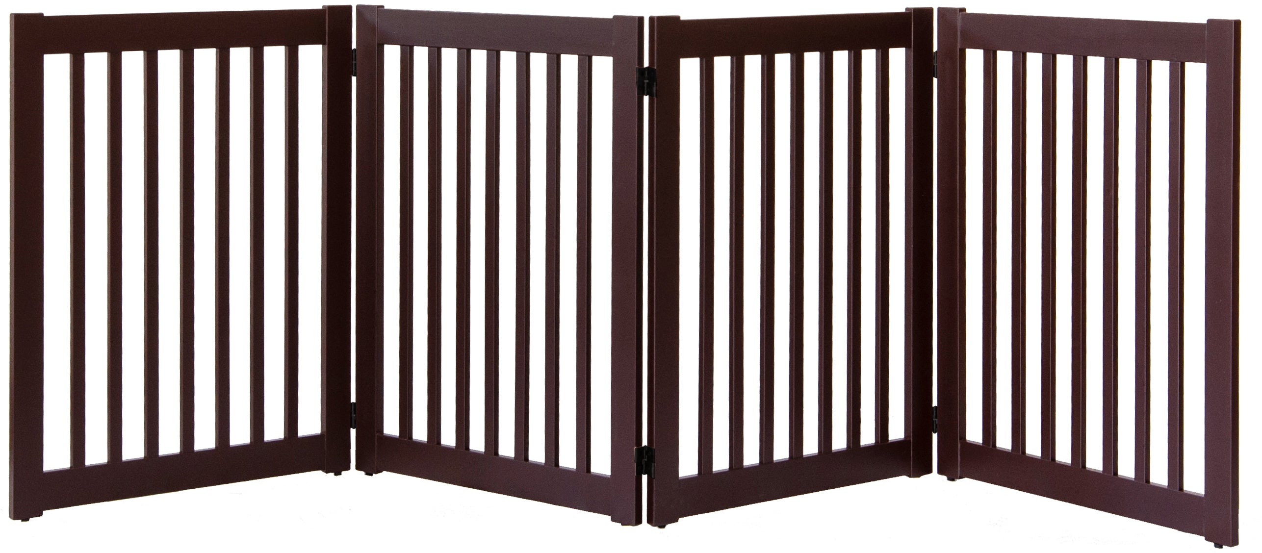 Amish Handcrafted 4 Panel Accordion Pet Gate Mahogany