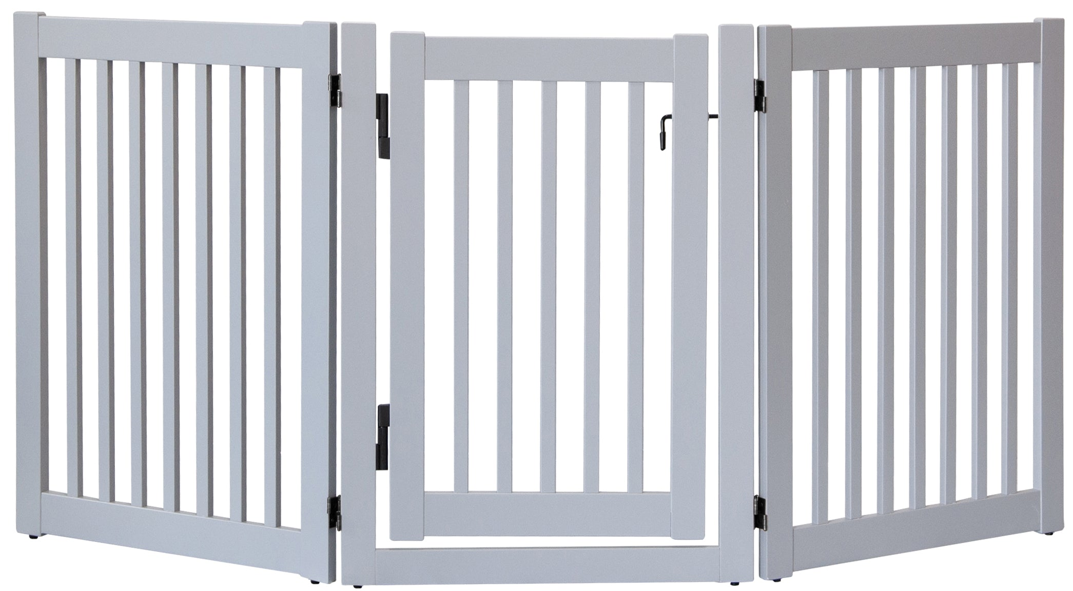 Amish Handcrafted 3 Panel Pet Gate w/Door Pumice Grey