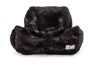 luxury soft dog bed black color