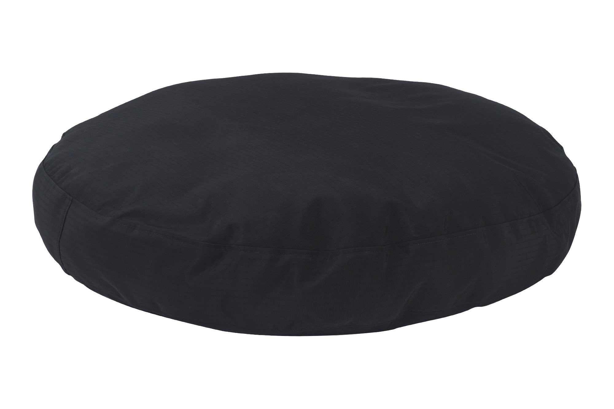 chew-resistant round dog bed black