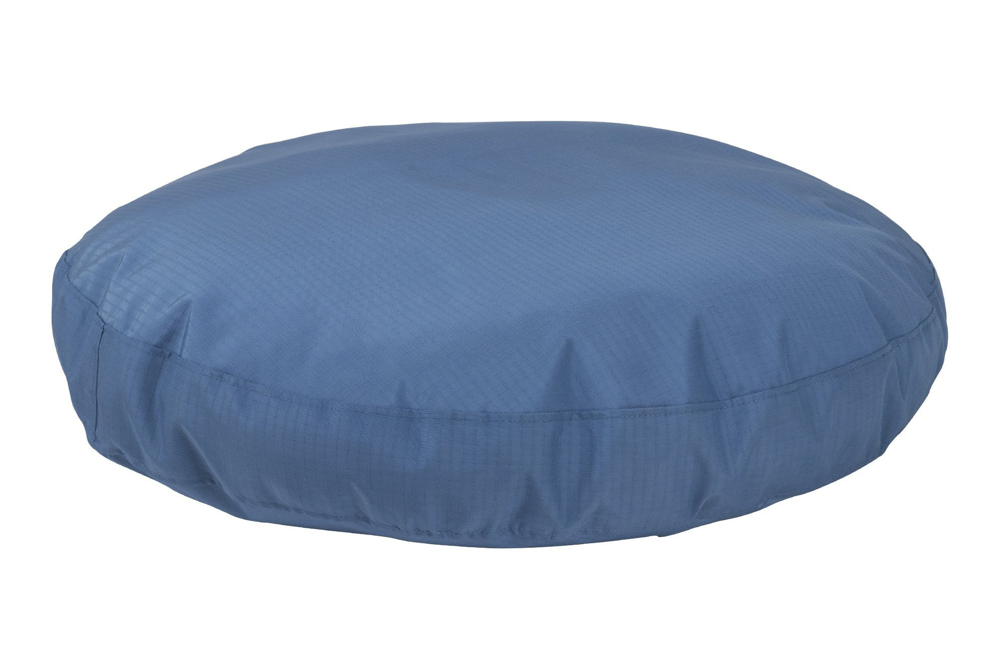 chew-resistant round dog bed blue