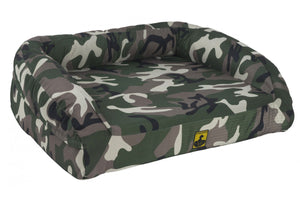 chew proof bolster dog bed orthopedic camo