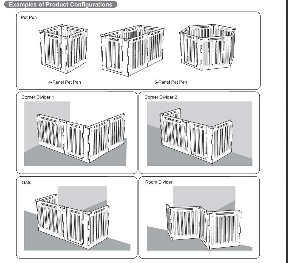4 panel dog gate and crate configurations