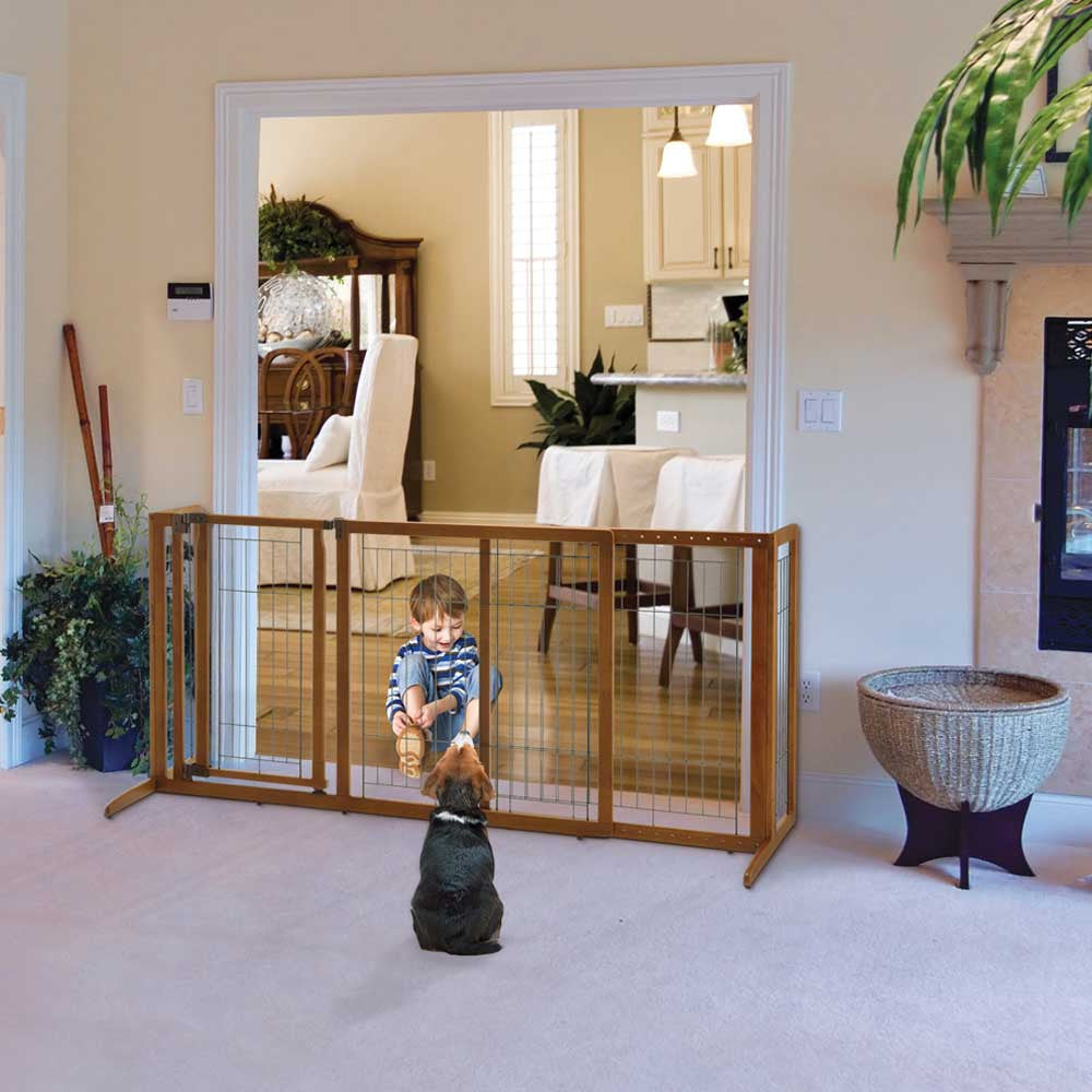 hardwood freestanding dog gate