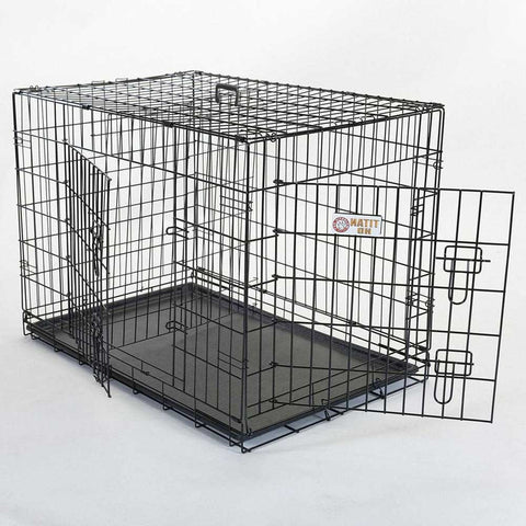 metal double door folding dog crate
