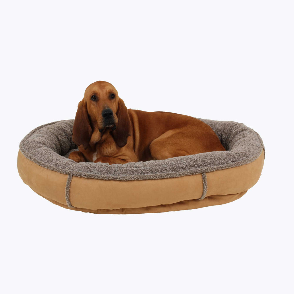 Faux Suede Berber Tipped Dog Bed