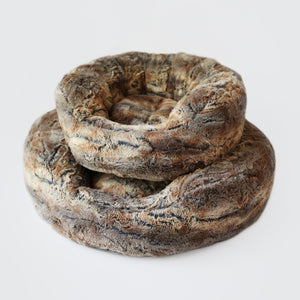 fox fur luxury donut dog bed