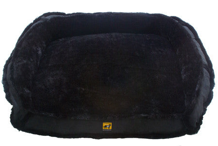 gray black fur dog bed