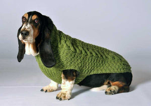 green cable knit dog sweater