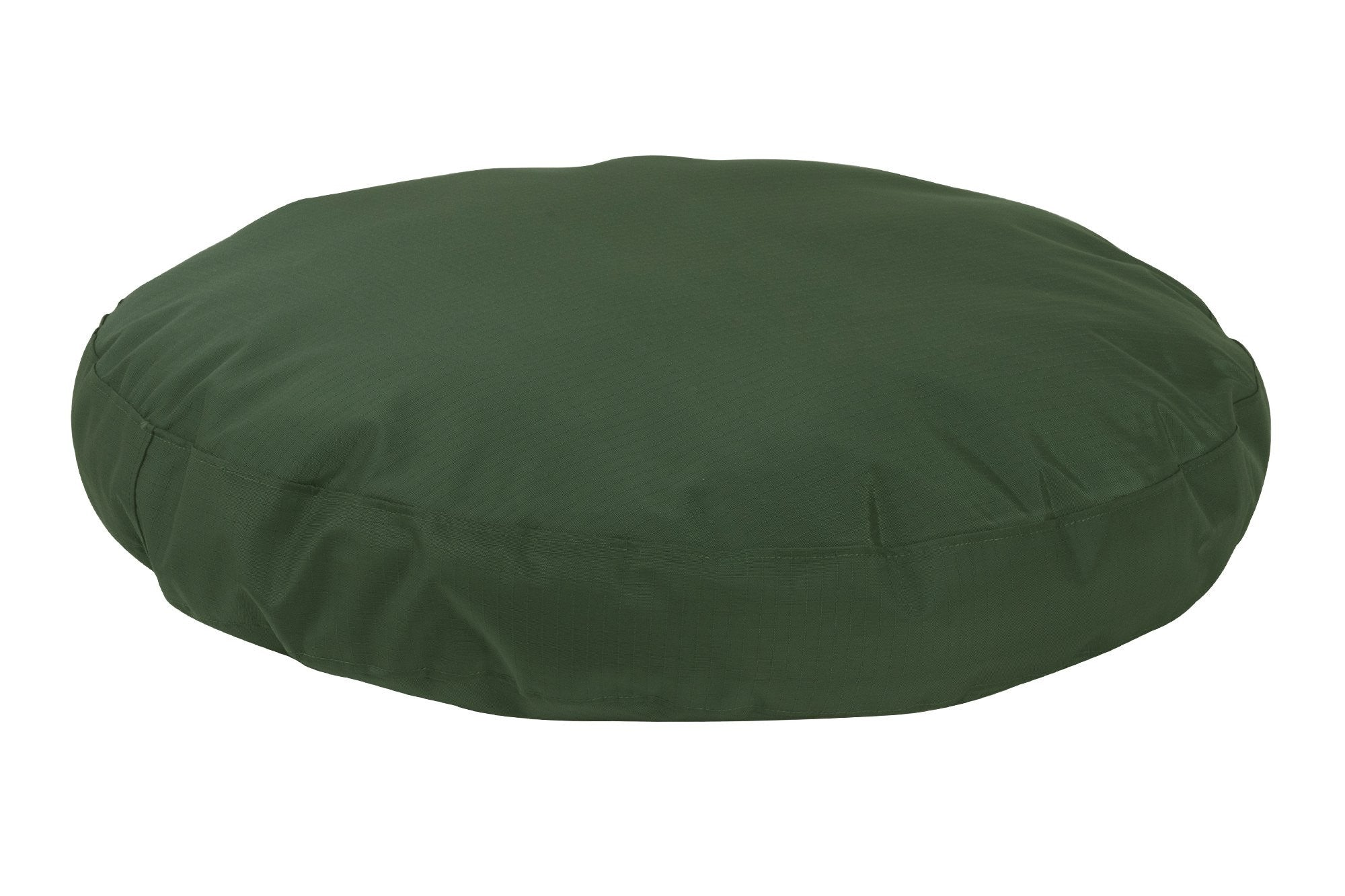 chew-resistant round dog bed green