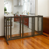 wood and wire mesh dog gate