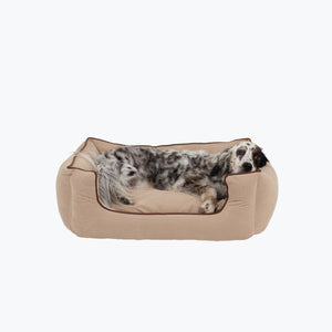 Linen Bolster Dog Bed