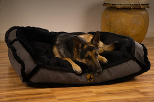 luxury faux fur bolster dog bed